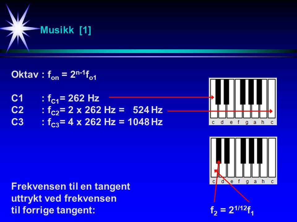 Musikk [1] Oktav : fon = 2n-1fo1. C1 : fC1 = 262 Hz. C2 : fC2 = 2 x 262 Hz = 524 Hz. C3 : fC3 = 4 x 262 Hz = 1048 Hz.